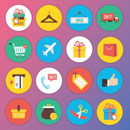 ecommerce: Trendy Premium Flat Icons for Web and Mobile Applications Set 8 Special Shopping Set