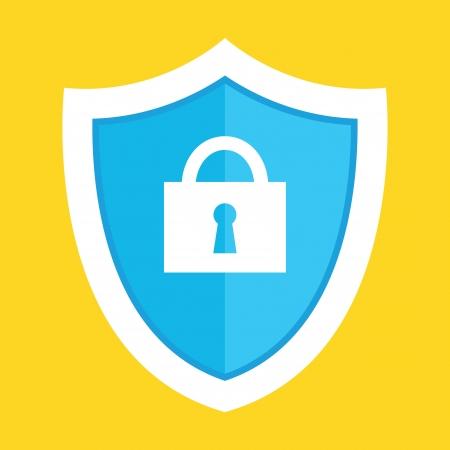 black and white lock: Vector Guard Shield Icon