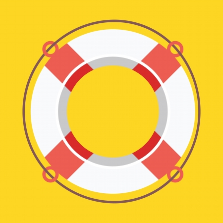beach buoy: Lifebuoy Icon Illustration