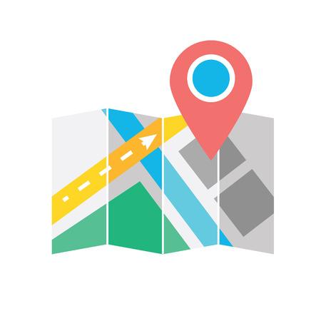 Mapa con el icono Label Ilustración de vector