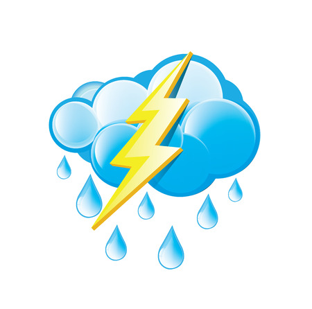 Rain With Lightning Icon Vector