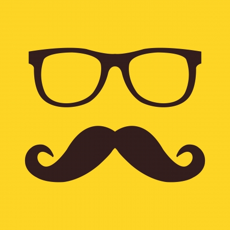 Vector Mustache and Glasses Icon  Vector