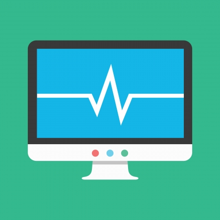 Vector Display with Cardiogram Icon Illustration