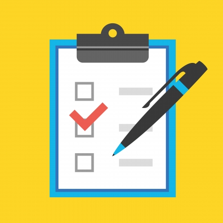 web survey: Vector Form with Pen and Checkboxes Icon