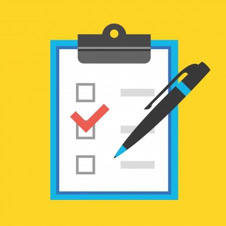 Vektor-Form mit Stift und Checkboxen Icon