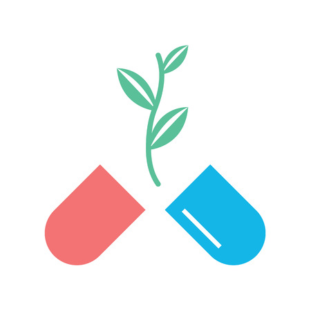 vitamine: Vector Pills and Plant Icon