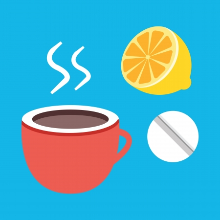 grippe: Vector Tea Lemon and Pill Icon