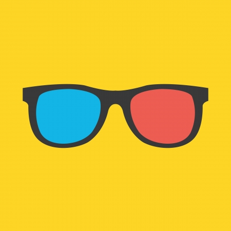 3d dimensional: Vector 3d Glasses Icon  Illustration