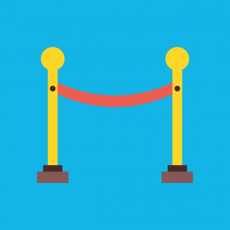 velvet rope: Vector Golden Fence Icon Illustration