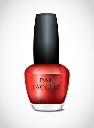 cosmetic lacquer: Nail Polish Red Illustration