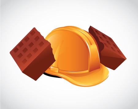Hard Hat Broken Bricks Icon Vector