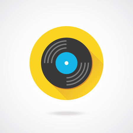vinyl disk player: Vector Vinyl Record Icon  Illustration