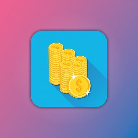 coin stack: Vector Gold Coins Icon