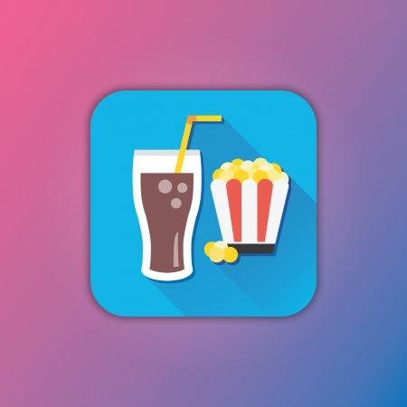 soda pop: Vector Lemonade and Popcorn Icon