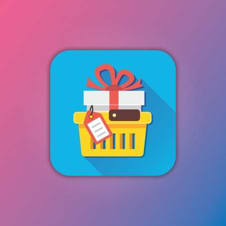 pushcart: Vector Shopping Cart with Gift and Tag Icon