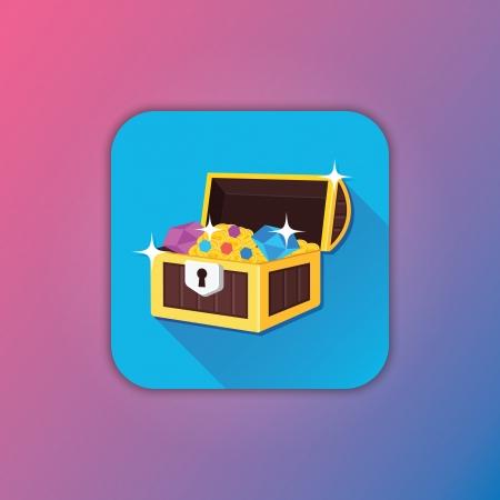 treasure chest: Vector Treasure Chest Icon Illustration