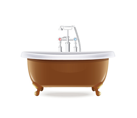 Bathtub With White Water Tap Vector