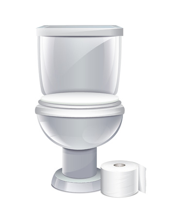 toilet bowl: Toilet With Toilet Paper