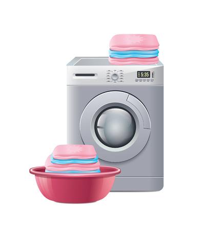 lavadora con ropa: Lavadora con el lavadero Vectores
