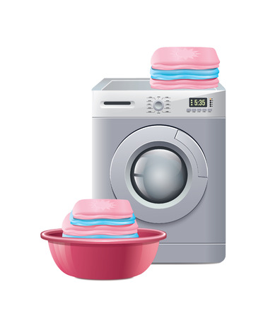 laundry machine: Washing Machine With Laundry