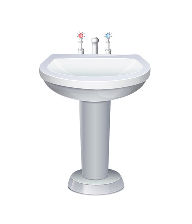ceramic: Washbasin With White Water Tap