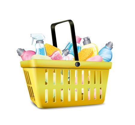 dishwashing liquid: Basket With Detergent
