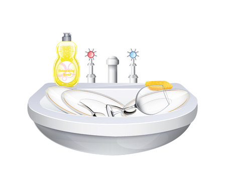 dishwashing liquid: Washbasin With Crockery