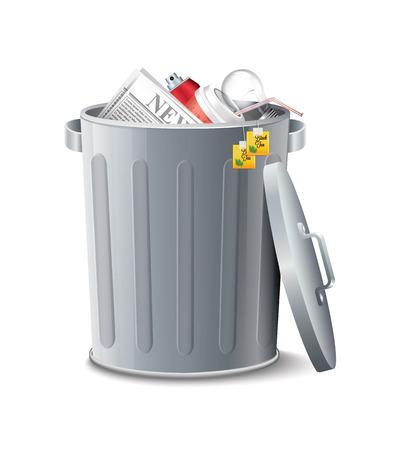 cut away: Iron Bin With Garbage