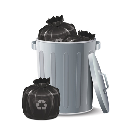 garbage bin: Iron Bin With Garbage Bag
