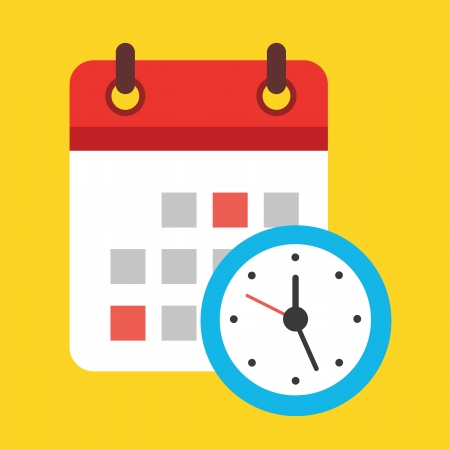 Calendar and Clock Icon Illustration