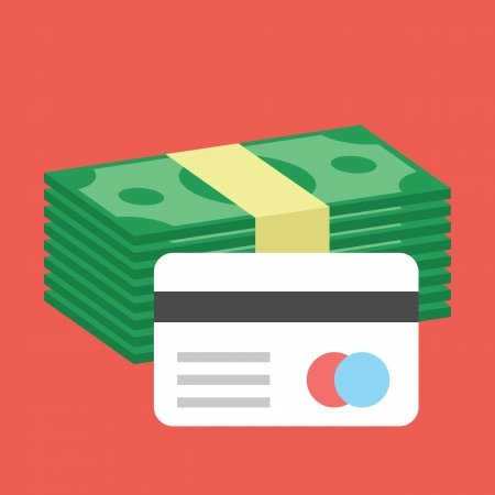 greenbacks: Credit Card and Stack of Money Icon