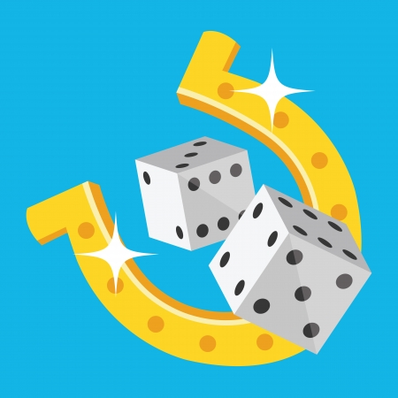 Dice and Horseshoe Icon Vector
