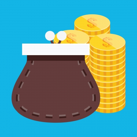coin stack: Purse and Coins Icon