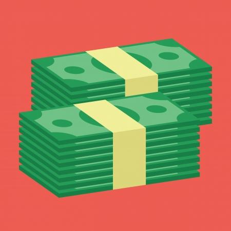 pile of cash: Stacks of Dollars Icon Illustration