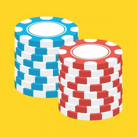 fichas casino: Dos pilas de fichas de casino Icon Vectores
