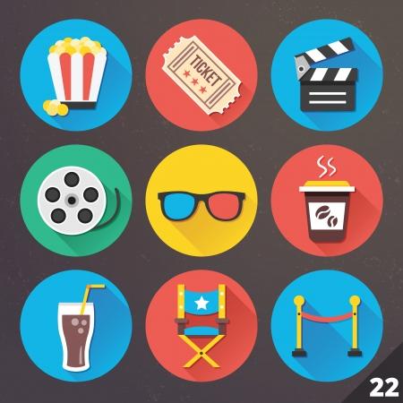 CINE: Iconos para las aplicaciones web y móviles Vectores
