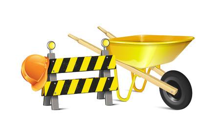 blocco stradale: Barriera stradale con cappello duro e Carriola