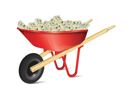 Wheelbarrow With Money Vector