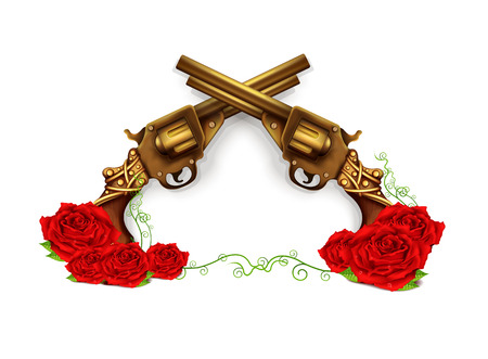 Vector Crossed Guns With Roses Vector