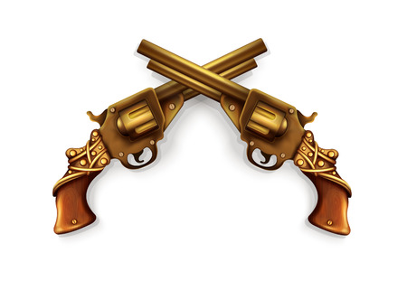 flintlock: Vector Crossed Revolvers Illustration