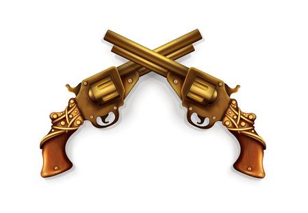 black powder pistol: Vector Crossed Revolvers Illustration