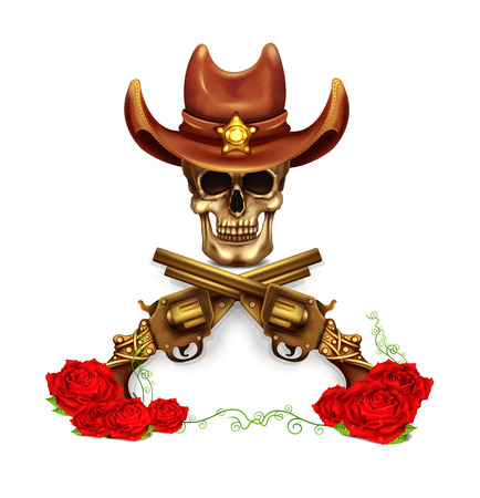 gun barrel: Sheriff Skull In Cowboy Hat And With Gun Illustration