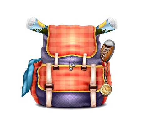 mochila de viaje: Mochila Viaje Vector Realista