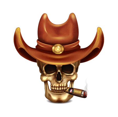 vintage cigar: Skull In Cowboy Hat And Cigar