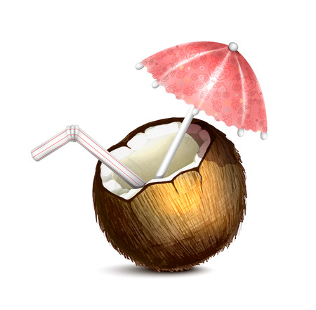 tropical drink: Coconut with Umbrella and Straw Illustration
