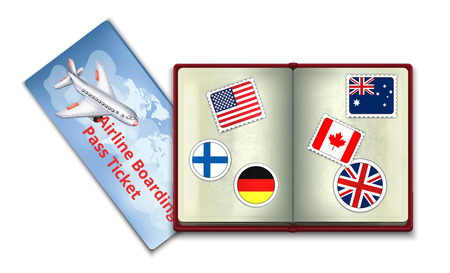 canada stamp: Open Passport and Airline Boarding Pass Ticket