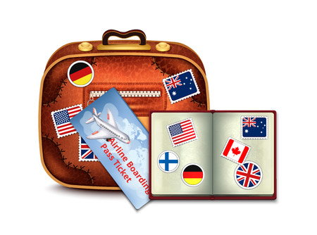 emigration: Passport and Airline Ticket and Luggage Illustration