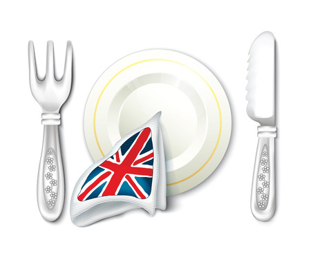 british food: Plate Fork Knife and British Flag Breakfast