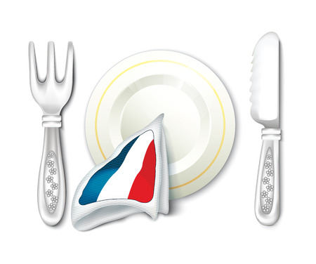 Plate Fork Knife with France Flag  Vector