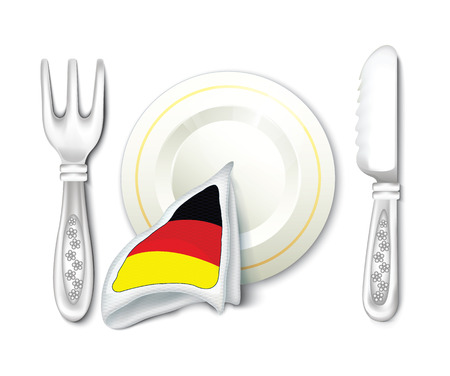 grunge silverware: Plate Fork Knife with Germany Flag Illustration